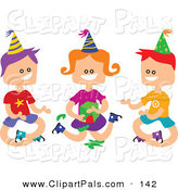 Pal Clipart of a Trio of Square Head Boys and a Girl Playing Pass the Parcel by Prawny