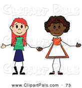 Pal Clipart of a Two Diverse Little Girls Holding Hands on White by Pams Clipart