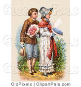 Pal Clipart of a Vintage Victorian Scene of a Courting Boy Carrying Flowers and Walking Behind a Girl As She Reads a Love Letter, Circa 1886 by OldPixels
