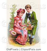 Pal Clipart of a Vintage Victorian Scene of a Sweet Young Man Giving a Girl a Basket of Flowers for Her to Make Wreaths With, Circa 1886 by OldPixels