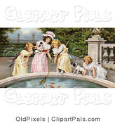 Pal Clipart of a Vintage Victorian Scene of Four Little Girls, Sisters, with Their Dogs, Fishing Goldfish out of a Pond in a Park, Circa 1880 by OldPixels
