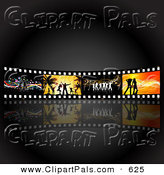 Pal Clipart of a Wall of Dancing Film Strips over Dim Gray and Black by KJ Pargeter