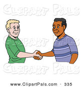 Pal Clipart of a White and Black Men Shaking Hands over White by LaffToon
