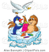 Pal Clipart of a White Bird Flying over a Spotted Seal and Penguin Coloring in a Book on a Floating Sheet of Ice by Alex Bannykh