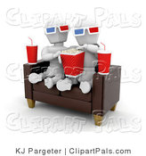 Pal Clipart of a White Character Couple on a Sofa, Eating Popcorn and Watching a 3d Movie with Popcorn and Sodas at Their Sides by KJ Pargeter