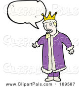 Pal Clipart of a White King with Conversation Bubble by Lineartestpilot