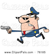 Pal Clipart of a White Male Police Officer Running with a Gun by Hit Toon