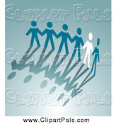 Pal Clipart of a White Paper Person Holding Hands with Blue People and Their Shadows by Vector Tradition SM