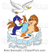 Pal Clipart of a White Seagull Flying over a Seal and Penguin Coloring in a Book on a Floating Sheet of Ice by Alex Bannykh