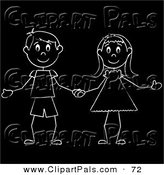 Pal Clipart of a White Stick Figure Boy and Girl Holding Hands on Black by Pams Clipart