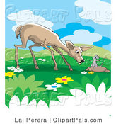 Pal Clipart of a Wild Rat Talking to a Concerned Deer in a Meadow by Lal Perera