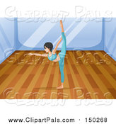 Pal Clipart of a Woman Doing Yoga in a Studio by Graphics RF