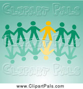 Pal Clipart of a Yellow and Green Paper People Holding Hands, with a Reflection by Vector Tradition SM