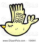 Pal Clipart of a Yellow Bird in Flight by Lineartestpilot