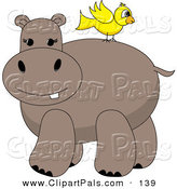 Pal Clipart of a Yellow Bird Standing on a Hippo's Back by Pams Clipart