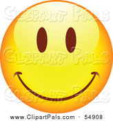 Pal Clipart of a Yellow Cartoon Smiley Face by Beboy