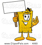 Pal Clipart of a Yellow Ticket Mascot Holding a Blank Sign by Toons4Biz