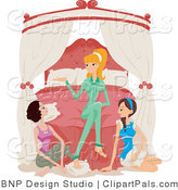 Pal Clipart of a Young Blond Woman and Two Brunette Friends Gathered Around the Bed and Talking While at a Sleepover by BNP Design Studio