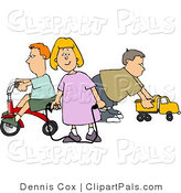 Pal Clipart of a Young Girl and Two Boys Playing with Toys by Djart