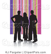 Pal Clipart of Adults Silhouetted in Black Against a Pink and Purple Striped Background by KJ Pargeter