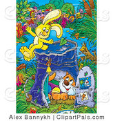 Pal Clipart of an Energetic Yellow Bunny Rabbit on Top of a Pail Converted into a Club House, a Cat Inside by Alex Bannykh
