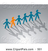 Pal Clipart of an Orange Paper Person Holding Hands with Blue People over Shadows by Seamartini Graphics