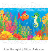 Pal Clipart of an Underwater Scene of Colorful Saltwater Fish Chatting with a Green Seahorse Above a Coral Reef by Alex Bannykh