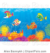 Pal Clipart of an Underwater Scene of Colorful Tropical Fish and a Crab Socializing at a Colorful Coral Reef by Alex Bannykh
