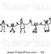 Pal Clipart of Black and White Chain of Stick Children Holding Hands in a Line by Prawny