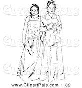 Pal Clipart of Black and White Prom Girls in Long Gowns by Prawny