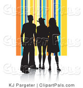 Pal Clipart of Black Silhouetted Adults Against a Yellow and Blue Striped Background by KJ Pargeter