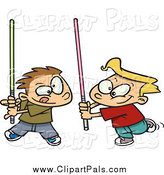 Pal Clipart of Boys Playing with Light Sabres by Toonaday