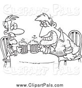 Pal Clipart of Cartoon Black and White Men Having a Drink Together by Toonaday