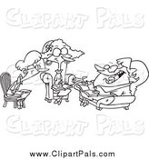 Pal Clipart of Cartoon Black and White Women Talking During a Book Club Meeting by Toonaday