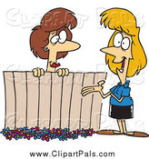 Pal Clipart of Cartoon Female Neighbors Chatting over a Fence by Toonaday