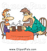 Pal Clipart of Cartoon Guys Having a Drink by Toonaday