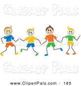Pal Clipart of Caucasian Stick Figure Boys Holding Hands by Prawny