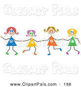 Pal Clipart of Caucasian Stick Figure Girls Holding Hands by Prawny
