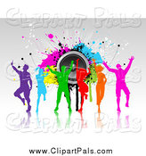 Pal Clipart of Colorful Silhouetted Dancers over Grunge and Speakers by KJ Pargeter