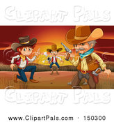 Pal Clipart of Cowboys Against a Sunset by Graphics RF