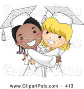 Pal Clipart of Cute Diverse Graduate Girls Hugging by BNP Design Studio