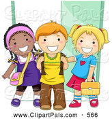 July 2nd, 2013: Pal Clipart of Diverse School Kids Standing by a Doorway to School by BNP Design Studio