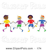 Pal Clipart of Diverse Stick Figure Boys Holding Hands by Prawny