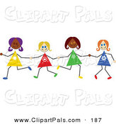 Pal Clipart of Diverse Stick Figure Girls Holding Hands by Prawny