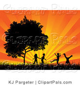 Pal Clipart of Four Black Silhouetted Children Running, Holding Hands and Doing Somersaults in a Field near a Tree, Against a Bursting Orange Sunset by KJ Pargeter