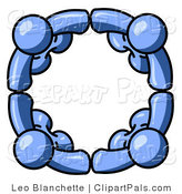 Pal Clipart of Four Blue People Standing in a Huddle and Holding Hands for Teamwork and Unity by Leo Blanchette
