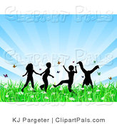 Pal Clipart of Four Playing Silhouetted Children Running, Holding Hands and Doing Somersaults in a Field of Butterflies and Spring Flowers over a Bursting Blue Background by KJ Pargeter