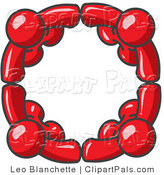 Pal Clipart of Four Red People Standing in a Circle and Grasping Hands for Teamwork and Unity by Leo Blanchette