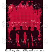 Pal Clipart of Four Silhouetted Male Friends Standing Together As a Group over a Red Background Bordered by Black Grunge and Splatters by KJ Pargeter