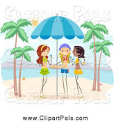 Pal Clipart of Girls with Drinks on a Beach by BNP Design Studio